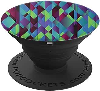 几何钻石图案抽象艺术图案 - PopSockets 手机和平板电脑握架260027  黑色