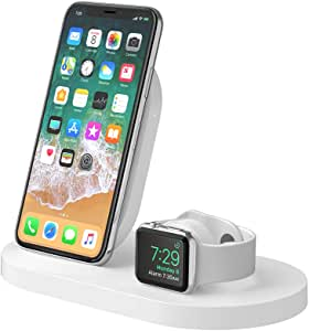 Belkin 贝尔金 Boost Up 无线充电底座,适用于 iPhone + Apple Watch + USB-A 端口(无线充电器,适用于 iPhone Xs、XS Max、XR、X、8/8 Plus、Apple Watch 4、3、2、1)- 白色