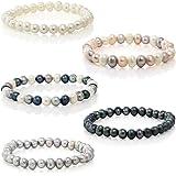 6-7mm 手选 AAA+ 淡水养殖珍珠手镯 安装在弹性绳上,5 种颜色 白色、灰色、黑色、自然多色,黑色/银色/白色