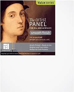"""Ampersand Art Supply 涂漆光滑艺术家面板 0.32 cm 扁平轮廓 15.24cm x 15.24cm 1/8 英寸深 8""""x10"""" APS0810"""