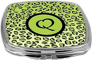 Rikki Knight 化妆镜,首字母 q 石灰绿色豹纹
