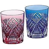 KAGAMI水晶 江户切子 竹叶斜格子 花纹 成对玻璃 #2652 日本制造