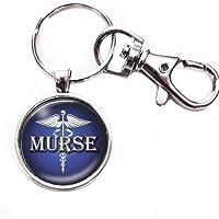 Murse 男士* - 银色/蓝色钥匙扣带玻璃图像,大号龙虾爪