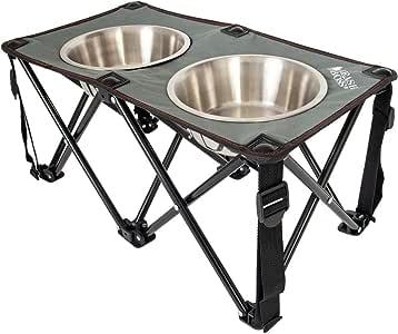 Leashboss 野营喂食器户外高架狗碗,26.67 厘米旅行增高狗喂食器,适用于中型和大型犬,包括两个不锈钢碗(2 夸脱) 灰/红/黑 10.5 Inch