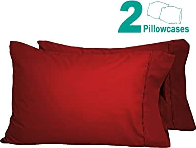 Splendid Collection 1800 系列埃及优质磨毛超细纤维 2 件套枕套,丝质柔软纯色无皱 *红色 King MFGSPLCLPLCSREF1054