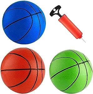 15.24 厘米小橡胶篮球玩具球套装适用于篮球篮圈套件替换便携式室内室外办公室游乐场花园运动躲避球游戏男孩女孩儿童幼儿成人带气泵