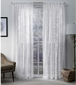 Exclusive Home Muse 几何纹理提花亚麻纯色杆套帘窗帘片对 冬季白 54x108 EH8221-01 2-108R