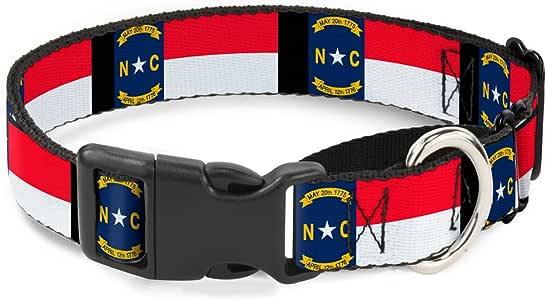 "Buckle-Down 北卡罗来纳州国旗仿旧/黑色马丁赛犬项圈 北卡罗来纳州旗/黑色 1"" Wide - Fits 15-26"" Neck - Large"