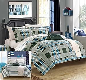 Chic Home 10 件套曼彻斯特超软超细纤维格子印花双面带几何条纹印花背衬床上用品套装袋盖被套装床单套装 绿色 两个 XL CS3890-AN