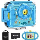 VanTop Junior K8 儿童相机带 32GB 存储卡,自拍 1080P 支持的防水视频摄像机 w/ 8MP 2.4 英寸大屏幕,填充灯,面部识别,4 种游戏,额外的防儿童硅胶壳Junior K8  蓝色
