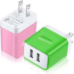 USB 插座充电器,Costyle 2 件装 3 安培 15 瓦双 2 个 USB 端口家庭旅行电源适配器立方体 兼容 iPhone X 8 7 Plus,iPad Pro Mini 4,Samsung Galaxy s9 s8 Plus Note 8 *,粉色