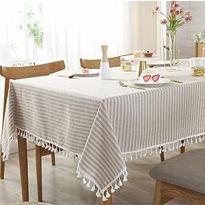 Bringsine 复古桌布,亚麻长方形可水洗晚餐野餐桌布,各种尺寸 Love Beige Rectangle/Oblong, 35 x 55Inch Bring-180519PM
