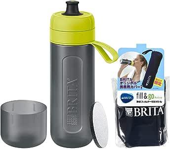 Brita 水壶 可直接饮用 600毫升 便携式净水器 水壶 附 1 个滤芯 FILL &GO Active 酸橙色 【带便携封皮】