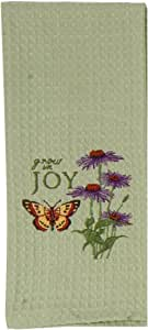 Kay Dee Designs Embroidered Waffle Weave Cotton Towel, 18 by 28-Inch, Joy