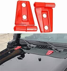 WYYINLI 2 件装发动机罩铰链盖模制修身 Jeep 牧马人 JK Unlimited 2/4 门 2007-2017 红色 WY46