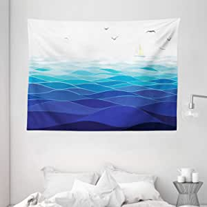 Aqua Tapestry by Ambesonne, Graphic Ocean Waves Sailboat with Birds Seagulls Seascape Horizon Maritime, Wall Hanging for Bedroom Living Room Dorm, 80WX60L Inches, Navy Blue Aqua White