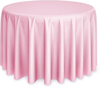 "Lann's Linens - 132"" Round Pink Polyester Tablecloth Cover for Weddings, Banquets, or Restaurants"