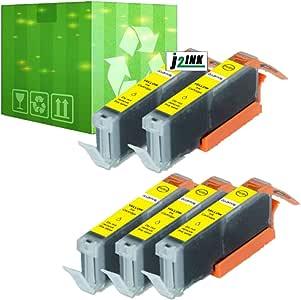 J2INK 5 瓶墨水 适用于佳能 CLI-251XL 青色 Pixma IP7220 MG5420 MG6320 MX722 MX922 5 黄色