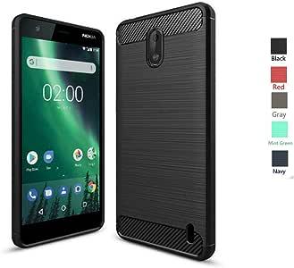 Nokia 2 保护套,Bettop 防指纹防震碳纤维设计柔韧柔软 TPU 拉绒纹理保护套适用于 Nokia 2Nokia 2 黑色