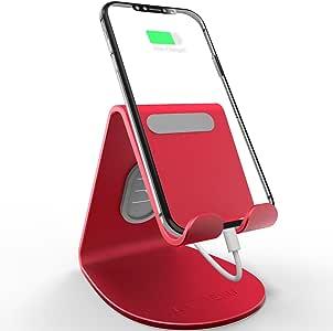手机支架,LAMEEKU iPhone 支架,通用平板电脑桌面支架,开关的坞站,所有智能手机,iPhone X 8 7 6s 6 Plus SE 5s,iPad,配件桌架 红色