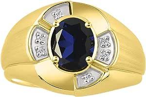 RYLOS 中性款 His/Hers 戒指 椭圆形宝石 & 真正闪亮钻石 14K 黄金镀银 .925-8X6MM 彩色宝石诞生石戒指