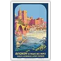 阿维尼on 法国 - 教皇宫(Le Palais des Papes) - Roger Broders 复古旅行海报 c…
