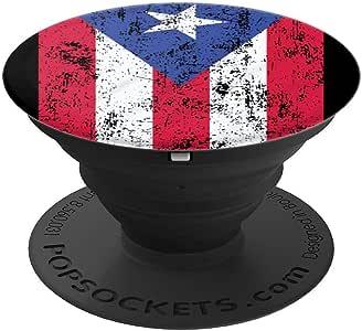 Puerto Rico 灵感设计适用于波多黎各国旗情侣 PopSockets 手机和平板电脑260027  黑色