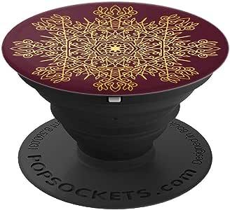 酒红色金色装饰曼陀罗图案 - PopSockets 手机和平板电脑握架260027  黑色