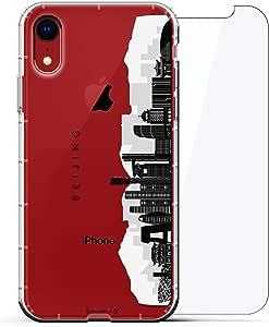 豪华设计师,3D 印花,时尚,气袋垫,360 玻璃保护膜套装手机壳 iPhone XR - 透明阿尔巴尼亚国旗LUX-I9AIR360-BEIJING2 LANDMARKS: Beijing Black & White Skyline #2 透明