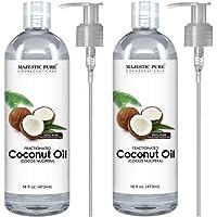 Majestic 纯分离椰子油,适用于芳香*放松按摩,载体油用于稀释精油、*和皮肤护理*、保湿霜和软化剂 - 453.59 克 椰子 Set of 2 2.00