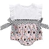 NewZhu 幼儿儿童女婴复活节套装荷叶边无袖连衣裙兔子印花连身衣可爱女孩紧身衣裤