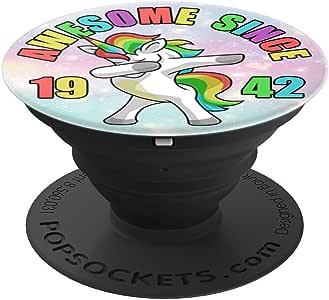 Awesome Since 1942 可爱 Dabbing 独角兽 - PopSockets 手机和平板电脑握架260027  Awesome Since 1942 Cute Dabbing Unicorn 黑色