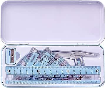 Sherry 8 件套几何指南针套装机械学校数学文具套件学生绘图工具 均码 Blue(metal Case)