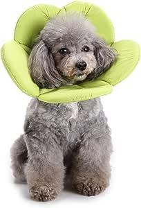 S-Lifeeing Dogs Cats Medical *宠物 E 项圈恢复锥体防护狗嘴毛孔柔软海绵可调节后力套件 适用于中小型犬 绿色 M