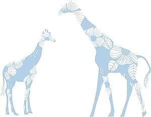 LittleLion Studio 035001010000000000000000 母婴花卉长颈鹿墙贴 浅蓝色 035026172000000000000000