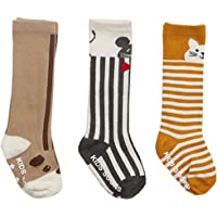 honanda 幼儿女孩 Sweet 动物图案及膝袜圆筒短袜3双装