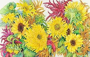 Frame USA 向日葵和阿马拉斯装裱印刷品 57.15 厘米 x 87.63 厘米 由 Joanne Porter-JOAPOR77858 创作,22.25x87.63 厘米,无框/帆布画
