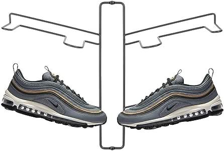mDesign 现代金属鞋收纳架展示和储物架 - 悬挂并存放您的踢踏、跑步、篮球、运动鞋、网球鞋 - 2 层 - 可容纳 4 双鞋,壁挂 石墨色 1包 04153MDCOEU