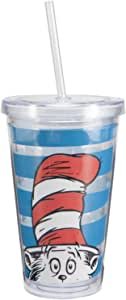 """Vandor 17351 Dr. Seuss""""Cat in the Hat"""" 18 oz Acrylic Travel Cup with lid and Straw, Multicolor"""