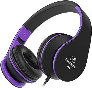 耳机 sound intone 可折叠耳机带麦克风和音量控制 ON-EAR 有线耳机适用于 iPhone 和 Android 设备 黑色/紫色