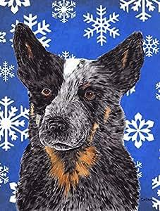 Australian Cattle Dog Winter Snowflakes Holiday Flag 多色 小号