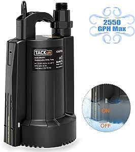 可潜水水泵,Tacklife 抽水泵,1/3HP 高功率效率,*大 2500 GPH,高达 25 英尺,10 英寸线,3/4 英寸适配器止回阀