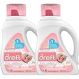 dreft 1阶:新生儿低变应原性婴儿洗衣液(HE),适合婴儿,新生儿或儿童的天然配方,50盎司/1.47升(32次使用),2瓶(包装可能有所不同)