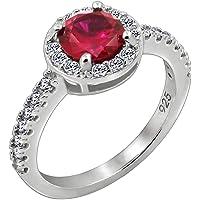 Amazon Collection 镀铂金925银圆形仿真红宝石戒指 尺寸14号
