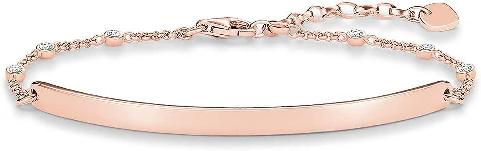 Thomas Sabo 女士-手镯爱心桥 925 纯银 18k 镀玫瑰金锆石白色长度从 14 到 18 厘米 桥 5.4 厘米 LBA0040-416-14-L18v