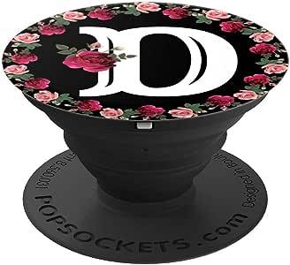 Monogram D 玫瑰花朵智能手机配件 - 适用于手机和平板电脑的 PopSockets 握把和支架260027  黑色
