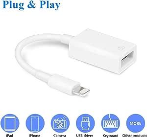 VELLEE * USB 相机适配器,USB OTG 电缆适配器兼容 iPhone/iPad,支持 iOS 13 及之前、USB 母头支持连接卡读卡器、U 盘、键盘、鼠标、USB 闪存盘