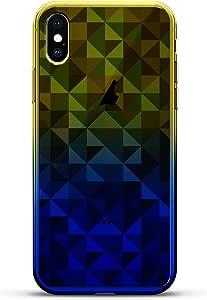 豪华设计师,3D 印花,时尚,高端,变色效果手机壳,适用于 iPhone Xs/X - 黄昏蓝小白色棒球图案LUX-IXCRM2B-TRIANGLE1 SHAPES & PATTERNS: BLUE TRIANGLES 蓝色(Dusk)