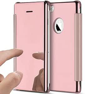 iPhone 5S 手机壳,iPhone 5 手机壳,iPhone SE 手机壳,ikasus 超薄奢华混合减震透明视角翻转电镀镀镜盖翻盖保护壳适用于 iPhone 5S 5 SE4336652841  玫瑰金