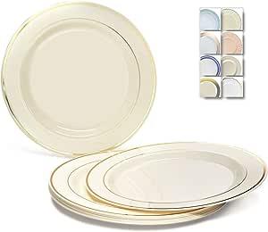 适合各种场合,120 片,重磅一次性婚礼派对塑料盘 Ivory/Gold Rim Dinner Plate 1